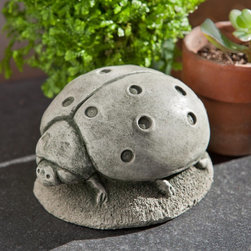 Campania International - Campania International Ladybug Cast Stone Garden Statue - A-428-AL - Shop for Statues and Sculptures from Hayneedle.com! About Campania InternationalEstablished in 1984 Campania International's reputation has been built on quality original products and service. Originally selling terra cotta planters Campania soon began to research and develop the design and manufacture of cast stone garden planters and ornaments. Campania is also an importer and wholesaler of garden products including polyethylene terra cotta glazed pottery cast iron and fiberglass planters as well as classic garden structures fountains and cast resin statuary.Campania Cast Stone: The ProcessThe creation of Campania's cast stone pieces begins and ends by hand. From the creation of an original design making of a mold pouring the cast stone application of the patina to the final packing of an order the process is both technical and artistic. As many as 30 pairs of hands are involved in the creation of each Campania piece in a labor intensive 15 step process.The process begins either with the creation of an original copyrighted design by Campania's artisans or an antique original. Antique originals will often require some restoration work which is also done in-house by expert craftsmen. Campania's mold making department will then begin a multi-step process to create a production mold which will properly replicate the detail and texture of the original piece. Depending on its size and complexity a mold can take as long as three months to complete. Campania creates in excess of 700 molds per year.After a mold is completed it is moved to the production area where a team individually hand pours the liquid cast stone mixture into the mold and employs special techniques to remove air bubbles. Campania carefully monitors the PSI of every piece. PSI (pounds per square inch) measures the strength of every piece to ensure durability. The PSI of Campania pieces is currently engineered at approximately 7500 for optimum strength. Each piece is air-dried and then de-molded by hand. After an internal quality check pieces are sent to a finishing department where seams are ground and any air holes caused by the pouring process are filled and smoothed. Pieces are then placed on a pallet for stocking in the warehouse.All Campania pieces are produced and stocked in natural cast stone. When a customer's order is placed pieces are pulled and unless a piece is requested in natural cast stone it is finished in a unique patinas. All patinas are applied by hand in a multi-step process; some patinas require three separate color applications. A finisher's skill in applying the patina and wiping away any excess to highlight detail requires not only technical skill but also true artistic sensibility. Every Campania piece becomes a unique and original work of garden art as a result.After the patina is dry the piece is then quality inspected. All pieces of a customer's order are batched and checked for completeness. A two-person packing team will then pack the order by hand into gaylord boxes on pallets. The packing material used is excelsior a natural wood product that has no chemical additives and may be recycled as display material repacking customer orders mulch or even bedding for animals. This exhaustive process ensures that Campania will remain a popular and beloved choice when it comes to garden decor.Please note this product does not ship to Pennsylvania.