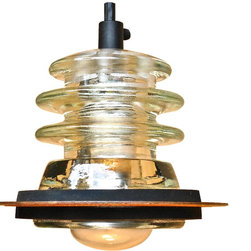 "Railroadware - Insulator Light Pendant 5"" Rusted Metal Hood - Insulator Light Pendant with 5"" Rusted Metal Hood Accessory (Armstrong) -"