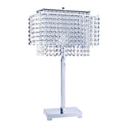 ORE International - 1-Light Crystal Strings Table Lamp - Bulb not included. Requires one 100 watt standard bulb. Multiple strands of circular artificial crystals lamp shade. Knob for switch on and off. UL listed. Warranty: 30 days. Made from metal. Silver color. Assembly required. 15.5 in. L x 9.5 in. W x 28 in. H (8 lbs.)Place this elegant gorgeous lamp to bring out luxurious style in one's room.