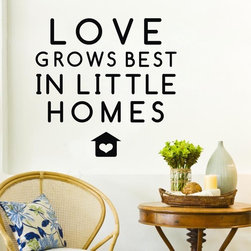 ColorfulHall Co., LTD - Love Grows Best In Little Homes Home Art Wall Decals - You will find hundreds of affordable peel - and - stick wall decal designs, suitable for all kinds of tastes and every room in your house, including a children's movie theme, characters, sports, romantic, and home decor designs from country to urban chic. Different from traditional decals, vinyl wall decals is with low adhesive that allows you to reposition as often as you like without damaging the paint. Application is easy: peel offer the pre-cut elements on the design with a transfer film, and then apply it to your wall. Brighten your walls and add flair to your room is just as easy.