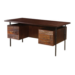 Lauren Reclaimed Wood Executive Desk - Our Lauren Executive Desk is handcrafted from exotic demolition hardwoods such as salvaged wood from downed telephone poles, 100-year-old flooring as well as Brazilian peroba and Chilean Guanacaste. Handcrafted with natural wax finish. This beautiful home office desk combines contemporary design with old, rustic reclaimed wood to make a unique, eco-friendly statement. Handsomely weathered peroba wood expose natural variations in tone and texture.