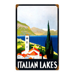 Past Time Signs - Italian Lakes Vintage Metal Sign - This vintage metal sign is hand made with pride in the USA using heavy gauge American steel. The high-resolution graphics are sublimated and powdercoated for a long-lasting durable finish. Then, it's worked over by hand to give it that vintage look and feel. It's perfect for your %customfield:genre% Man Cave, Game Room, Office, or anywhere you want to show love for your favorite things.