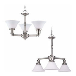 Sea Gull Lighting - 3-Light Chandelier Brushed Nickel - 39061BLE-962 Sea Gull Lighting Sussex 3-Light Chandelier with a Brushed Nickel Finish