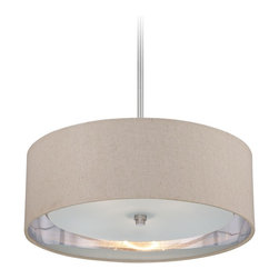 """Quoizel - Contemporary Quoizel Metro Brushed Nickel 3-light Pendant Light - This gorgeous three light pendant by Quoizel's Metro collection comes in brushed nickel finish. The fabric shade on this pendant light is specifically designed to brighten up the room while the inner shade with etched glass helps diffuse the light to avoid glare. Add a flair of sophistication and elegance to your dining room foyer or kitchen with this transitional mini pendant light. Brushed Nickel finish. Fabric shades and silver liner enhance light emissions. Shade measures 20"""" wide 20"""" deep 7"""" high. Takes three maximum 100 watt or equivalent medium base bulbs (not included). 20"""" wide. 8"""" high.  Brushed Nickel finish.  Fabric shades and silver liner enhance light emissions.  Shade measures 20"""" wide 20"""" deep 7"""" high.  From the Quozel brand.  Takes three maximum 100 watt or equivalent medium base bulbs (not included).  20"""" wide.  8"""" high."""