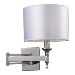"""Elk Lighting - Elk Lighting 10160/1 26"""" Extension 1 Light Swing Arm Wall Sconce with a Drum Sha - 26"""" Extension Contemporary / Modern 1 Light Swing Arm Wall Sconce with a Drum Shade from the Pembroke CollectionUnique in form, the Pembroke collection features a concave arm design for a distinct appearance. Light silver drum shades and a polished nickel finish add to the ambiance.Features:"""