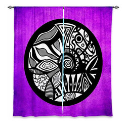 "DiaNoche Designs - Window Curtains Unlined - Pom Graphic Design Abstract Circle Purple - DiaNoche Designs works with artists from around the world to print their stunning works to many unique home decor items.  Purchasing window curtains just got easier and better! Create a designer look to any of your living spaces with our decorative and unique ""Unlined Window Curtains."" Perfect for the living room, dining room or bedroom, these artistic curtains are an easy and inexpensive way to add color and style when decorating your home.  The art is printed to a polyester fabric that softly filters outside light and creates a privacy barrier.  Watch the art brighten in the sunlight!  Each package includes two easy-to-hang, 3 inch diameter pole-pocket curtain panels.  The width listed is the total measurement of the two panels.  Curtain rod sold separately. Easy care, machine wash cold, tumble dry low, iron low if needed.  Printed in the USA."