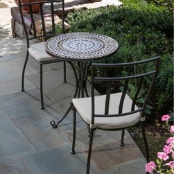 Tremiti Mosaic Patio Bistro Set - The Tremiti Mosaic Patio Bistro Set makes a beautiful, one-of-a-kind addition to any garden, terrace, or rooftop setting. Enjoy a cup of coffee while taking in the mesmerizing mosaic tabletop made from natural marble. The mosaics are hand-laid so that no two patterns are exactly alike. The cast aluminum table and chairs are polished and washed in an acid solution, and then oven-dried, cooled, and powder-coated, making them perfect for any outdoor setting. Chair dimensions: 15.5W x 16D x 37H inches. Table dimensions: 24 diam. x 29H inches.About Mosaic tabletopsThe mosaic tiles are hand-set and grouted with industrial adhesives for maximum durability. What this means is if the mosaic top gets wet, the grout won't dry out and crack like traditional standard grout would. The top is then finished and sealed with an industrial-grade sealant called Fluorocarbon for superior protection. Natural wear and tear of elements may lead to blistering of the silicone top seal and natural aging of the tile materials. The hand-forged wrought-iron table frame is dipped in a zinc-phosphate bath and then electrostatically coated to help create a weather-resistant coating to delay the onset of rust. Following a quality check for strength and durability, iron welds are ground for aesthetic appeal. Finally, a powder-coated finish is applied and baked onto the iron for stronger color and protection. As fetching as it is functional, this is a piece that will never go out of style.About Alfresco HomeOffering a wide selection of fashionable products, from casual furniture and garden lighting to permanent botanicals and seasonal decor, Alfresco Home casual living products offer a complete line of interior and exterior living furnishings and accents. Based out of King of Prussia, Penn., Alfresco Home continues to blend indoor and outdoor furniture to create a lifestyle of alfresco living inside and outside of the home. Inlaid mosaic tabletops, fine hardwood furni