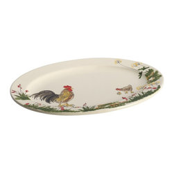 Paula Deen - Paula Deen Signature Dinnerware Southern Rooster Collection 10 in. x 14 in. Oval - Shop for Plates and Dishes from Hayneedle.com! Whether it's fried chicken or flaky biscuits the Paula Deen Signature Dinnerware Southern Rooster Collection 10 in. x 14 in. Oval Serving Platter is the perfect way to present a favorite dish. This beautiful stoneware platter features a charming hand-painted rooster and garden design making it a unique addition to your table. It's also dishwasher- and microwave-safe.About Paula DeenSouthern cooking queen Paula Deen is known to millions as a popular TV show cooking host on the Food Network as well as a bestselling author. The Georgia native parlayed a home-based meal delivery service into her successful Lady and Sons restaurant in Savannah Ga. In 2008 Deen partnered with Meyer Corporation to launch a line of signature cookware bakeware kitchen tools and accessories which are used by home cooks everywhere.