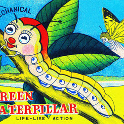 Buyenlarge - Mechanical Green Caterpillar 12x18 Giclee on canvas - Series: Vintage Toy Box Art