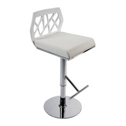 Eurostyle - Sophia Bar/Counter Stool-White/Chrome/White - Take the chill out of modern with rich tones and comfort in mind. The faux leather seat of this stool is amply cushioned and chic, while the stylized cutout design adds interest and provides necessary support for your back.