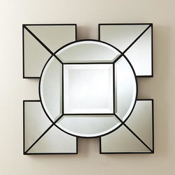 Global Views - Global Views Arabesque Square Mirror - Arabesque Square Mirror by Global Views. Hangs with metal wall cleat provided. Available in Black or White.