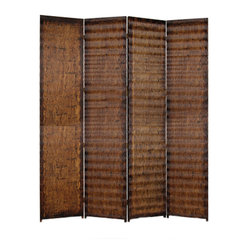 ALBATA SCREEN - A 4 panel screen made of patterned wood panelling.   The screen has a unique gold-brown s-pallern metallic finish on both sides of the screen.