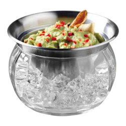 PRODYNE - Steel Iced Dip Cup Acrylic Chill Bowl - Keep your party nibbles as cool as your get together with this icy dip bowl. The steel cup keeps your guacamole, hummus or other favorite dip nice and chilled so you can get out of the kitchen and back to hosting. The nesting bowls ensure a sturdy fit, and you can pop on the lid to save leftovers after the last guest has gone home.