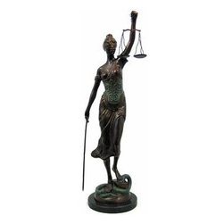 Huge Lady Justice Bronzed Metal Statue Justicia Law - Lady Justice and Blind Justice are the names associated with the feminine image Themis, the goddess of Greek Mythology epitomizing the virtue of Justice. Holding a sword in one hand to represent power, scales in the other displaying impartiality, and blindfolded to assure fairness in judgment, this statue, `La Justica` hearkens back to these ancient ideals. The scales hang independently from metal chains and the heavy marble base gives it stability. The statue stands 39 inches tall, is 13 inches wide and 10 inches deep. Made of cast aluminum, it has a bronzed finish to give it an oxidized look, and shows incredible detail. It`s a great present for lawyers, judges, anyone in the field of law. Because it`s made of metal, it can be displayed outdoors. Don`t miss out on this awesome piece at a great price.