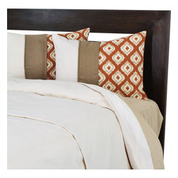 """Sands - Chooty - Macie's King Duvet with 2"""" Topstitched Fold Over and 2 Macie Shams - Snuggle up in this comfortable and classy Duvet Set. The duvet in a neutral ivory is complimented by two top stitched fold over shams with an ikat inspired design in pumpkin that adds a pop of color. This modern flair will be a fun addition to your bedroom. (King Size - 100""""W x 94""""L)"""