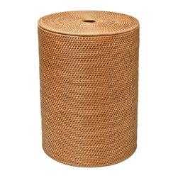 Kouboo - Round Rattan Hamper with Cotton Liner, Honey-Brown - This round rattan hamper will keep laundry out of sight in a naturally beautiful container. Hand woven from rattan in Hapao style, this honey-brown hamper features a removable, machine-washable, cotton liner to protect your clothes and built-in handles for easy movement and carry.