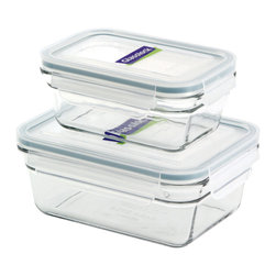 Glasslock 4pc Rectangle Oven Safe Set - Includes: Rectangle 1 x 3.5 cup / 1 x 1.6 cup