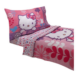 Crown Crafts Infant Products - Hello Kitty Toddler Bedding Modern Garden Comforter Sheets - FEATURES: