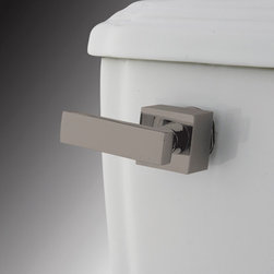 Kingston Brass - Toilet Tank Lever - The Executive Tank Lever features a unique contemporary look with its large square-shaped design. Its smooth makeup and rectangular-shaped handle exhibits a distinctive look also made for functionality and durability as well.; Made from satin nickel; Solid cast brass construction; Coordinates perfectly with Executive collection; Executive design; Fit most water closet mechanisms; Material: Brass; Finish: Satin Nickel; Collection: Executive