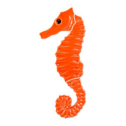 "Glass Tile Oasis - Seahorse Pool Accents Orange Pool Glossy Ceramic - Sheet size:  6""   Tile thickness:  1/4""   Sheet Mount:  Mesh Backed   Sold by the piece   -"