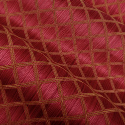 Varigated Trellis Upholstery in Ruby Red - Varigated Trellis Upholstery in Ruby. A designer cotton and rayon blend perfect for upholstering a chair, sofa or bench.