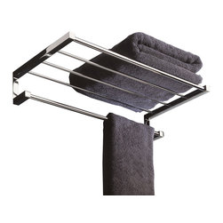 WS Bath Collections - Metric by WS Bath Collections Towel Rack in Polished Chrome - Create your own spa-look at home with this combination rack and towel hanger in polished chrome. You'll never have to worry about running out of clean towels for yourself or guests — this stylish towel rack has a shelf for fresh towel storage and a hanging rod for daily use.