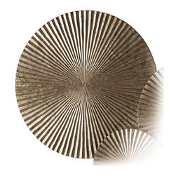 Apollo Large Metal/Wood Wall Plaque - Silver - A superb crowning element in a transitional wall arrangement with the simplicity of its basic motif yielding a richly-textured complexity of form, the Apollo Wall Plaque in Silver is a timeless disk of carved wood with silvery metal coating a radiant complement of corrugations.  Ideal for adding a concentrated touch of metallic color to your d�cor, the plaque is a dramatic two feet in diameter.