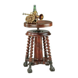 "EttansPalace - Hand Carved Mahogany Antique Replica Stooltable - Hand carved mahogany antique replica. This coveted replica antique is as difficult to find as an original because It's still so useful! With hand carved mahogany barley twists, cast metal ball and claw feet and a 360� swiveling metal threaded rod for seat height adjustment, our stool is as easily nestled next to the piano or used as a side table. 13.5""dia. x 20.5""H. 25 lbs."
