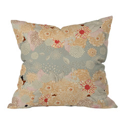 DENY Designs - Iveta Abolina Creme De La Creme Throw Pillow, 20x20x6 - Do you love soft, warm neutrals but need a sprinkle of color to give your room a lift? Iveta Abolina feels you. Her pretty floral design layers shades of creamy beige and light blue-gray with just a hint of red peeking through. It looks fresh and sweet, which tells you exactly how your room will look when you toss this throw pillow onto your beige couch with a red one on the other side. Perfect harmony.