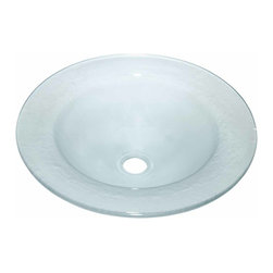 "Renovators Supply - Vessel Sinks Frosted Glass Frosted Glass Vessel Sink Saturn Shape | 12855 - Glass Vessel Sinks: Single Layer Tempered glass sinks are five times stronger than glass, 1/2 inch thick, withstand up to 350 F degrees, can resist moderate to high degrees of impact and are stain-proof. Ready to install this package includes FREE 100% solid brass chrome-plated pop-up drain, FREE machined 100% solid brass chrome-plated mounting ring and silicone gasket. Measures 19 3/4 inch diameter x 4 1/2 inch deep x 1/2/"" thick."
