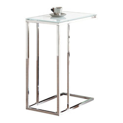 Adarn Inc. - Modern Frosted Tempered Glass Top Chrome Metal Accent End Chair Side Snack Table - Accessorize your living space with this contemporary snack table. It is crafted with a chrome base that adds a cool, modern look and feel. A frosted tempered glass table top provides convenient space for drinks, snacks, and more. Perfect in your living or entertaining space. Accessories not included.