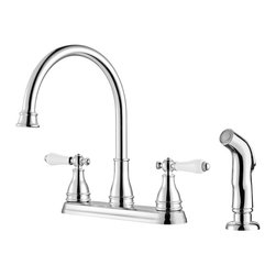 Price Pfister - Pfister Sonterra Two Handle Widespread Lead Free Kitchen Faucet With Side Spray - Pfister Sonterra Two Handle Widespread Lead Free Kitchen Faucet With Side Spray's intricate curves, decorative high-arc spout, and classic styling will accent your home with timeless sophistication.