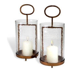 Interlude - Interlude Noma Lanterns - Pair - A copper leaf metal base meets a hammered glass candle surround bringing rustic and modern together with terrific style.