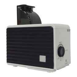 SPT Appliance - Personal Humidifier in Black and White - Cool mist (ultrasonic technology). 3 bottle adapters included . 120cc/hour humidity output. Adjustable mist. Uses water bottle instead of water tank. Water low indicator. Quiet operation. Low power consumption. UL approved AC adapter. 4.33 in. L x 2.56 in. W x 3 in. H ( 1.5 lbs. )Compact and lightweight, this personal humidifier offers portability that is perfect for travel use. Small enough to easily fit in your luggage or carry on. Three different sized bottle adapters and a 100~240V AC adapter allows universal usage. All you need to obtain at destination is a bottle of water. Also ideal for use at work, in nursery or for anyone who desires its convenience and portability. Ultrasonic technology offers cool mist and quiet operation.