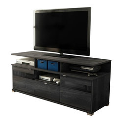 South Shore - South Shore City Life II Contemporary Style TV Stand in Grey Oak - South Shore - TV Stands - 4137676 - This City Life II TV Stand in Gray Oak finish encompasses all the winning features of an entertainment center into one TV stand ideal to help you create that living room you always imagined. In addition to its ergonomic height the combination of open and closed storage spaces allow both easy access to electronic devices and discreet storage for a tidy living room. The metal accents and the metal handles in a Metallic Gray finish that match its metal look-alike legs will bring elegance to your contemporary decor. Offers 4 open storage spaces perfect for electronic devices 2 storage spaces behind each door separated by an adjustable shelf a hole in the back panel for easy and convenient wire management and a practical drawer equipped with metal slides. A tinted glass insert in each door allows remote control signal to reach electronic devices kept behind closed doors. It can accomodate a TV up to 60 inches and its weight capacity is 150 pounds. The back surface is not laminated. New and improved drawer bottoms made with wood fibers. Manufactured from certified Environmentally Preferred laminated particle panels. Complete assembly required by 2 adults. Tools are not included.  5-year limited warranty.