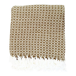 BrandWave - Diamond Dots Throw, Brown - Stay cozy with this beautiful, hand-loomed throw. Made from 100% cotton, the diamond dots throw is soft and comfortable. Don't be afraid to take this throw into any room of your home. We love it in the family room as well as sitting at the bottom of your bed.