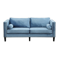 None - Cooper Blue Velvet Sofa - The soft blue velvet Cooper sofa brings comfort and style to any living area. This one of a kind sofa features a modern design with studded detail for a modern take on classic comfort.