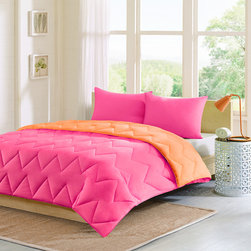 Intelligent Design - Intelligent Design Trixie Reversible Down Alternative Comforter Mini Set - The Intelligent Design Trixie comforter is a fun way to add a pop of color to your bedroom. The chevron stitching adds the perfect element of style to this otherwise solid comforter. Trixie is fully reversible so you can change the look of your bedroom with one easy flip. The pink reverses to orange. Comforter: 85gsm solid microfiber face and reverse, knife edge, double needle, fiber fill-25oz, chevron quilting Sham: 85gsm solid microfiber face and reverse, knife edge, hidden zipper closure