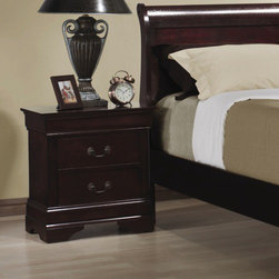 Wildon Home � - Louis Philippe 2 Drawer Nightstand - The perfect companion to your bed, this nightstand has two drawers that are great for storing TV remotes, books, magazines and other small items. Place a lamp on top for convenient nighttime reading, and set down a glass of water for that bedtime drink. Add functional storage next to your bed with this two drawer nightstand. Features: -Transitional style.-Brass metal hardware.-Metal drawer guides.-Includes drawers / shelf for storage.-Veneers and solid wood construction.-Cherry finish.-Carbon collection.-Distressed: No.-Collection: Montreal.Dimensions: -Overall Product Weight: 34.1 lbs.