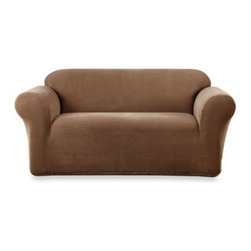 Sure Fit - Sure Fit Stretch Metro Brown One Piece Sofa Slipcover - Update your furniture with the rich design and character of our Stretch Metro slipcover.