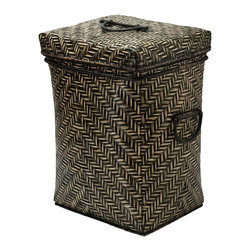 Box Bamboo Hamper - Hand-woven by hill tribes in Northern Thailand the bamboo peel is stained and the hamper fitted with a removable cotton liner. The high quality finish of the bamboo adds an tropical accent to any bathroom, bedroom or spa.