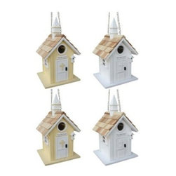 Home Bazaar, Inc. - Little Church Birdhouse 4 pack (2 white, 2 yellow) - The Little Church Birdhouse Assortment (4 Piece Pre-Pack 2/White, 2/Yellow) Birds will be praying that they get a front row seat within this modest country church. Architectural details include a pine shingled roof, white steeple, multi-paneled windows fr