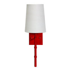 Worlds Away - Worlds Away Red 1-Light Wall Sconce MOLLY R - Red sconce with bamboo detail and white linen shade. Ul approved for one 40 watt candelabra bulb