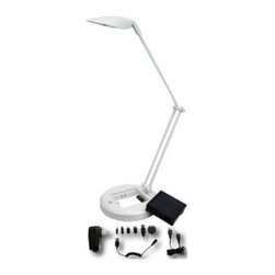 HomeSelects - White Desk Lamps: Apple White Solar,USB or A/C LED Lamp and Cellphone Charger wi - Shop for Lighting & Fans at The Home Depot. Contemporary desk lamp provides bright, highly efficient LED lighting. The lamp can be charged three ways; from the small solar pack housed in the base, or via an A/C plug, or from a USB power port. The combination solar charger and battery pack unit is removable and is designed to charge most cell phones or power USB personal devices.