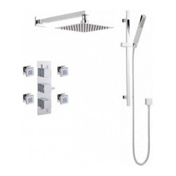 """Valquest USA - Three Handle Thermostastic Shower Square Trim Kit - V3SB - Gorgeous IAPMO approved chrome finished shower kit with four luxurious square body jets, a minimalist square hand-shower and square 27"""" slide rail."""