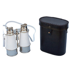 Handcrafted Nautical Decor - Chrome Binoculars w/ White Leather Belt and Leather Case 6'' - These beautiful Hampton Nautical Admiral's Chrome/White Leather Binoculars with Leather Case 6'' will make anyone feel like a true navigator. With uniquely styled eye pieces that are better placed around the eye area for clearer vision, these binoculars have in-line prisms for improved field of view and have precision ground glass 1.75 inch (44 mm) diameter objective lenses. Focusing is accomplished using a knurled focusing knob on top of the binoculars. The binoculars have a leather strap and come with a handmade leather case.--------    Chrome wrapped in white leather nautical binoculars--    --    Functional and decorative nautical decor--    20x magnification--    Easy focusing with knurled knob--    Leather strap and handmade leather case included for safe keeping--    Custom engraving/photo etching available; logos, pictures, and slogans can easily be put on any item. Typical custom order minimum for engraving is 100+ pieces. Minimum lead time to produce and engrave is 4+ weeks.--