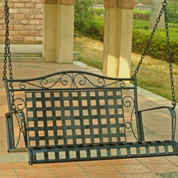 Wrought Iron Patio Swing - This wrought iron swing has a great lattice work design that looks perfectly suited for a front porch. I can see swinging for hours and like that there is a suite of furniture that matches it so you can coordinate the entire space.