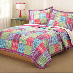 None - Kelsey Cotton 3-piece Quilt Set - Your teen will enjoy the energetic style of this colorful cotton quilt set suitable for use throughout the year. Its bright blue, pink, purple, and green colors will give her plenty of color options for decorating the rest of her room.