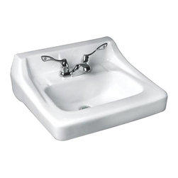 """American Standard - American Standard 0436.004US.020 Missouri 20x18"""" Wall-Mount Lavatory, White - American Standard 0436.004US.020 Missouri 20x18"""" Wall-Mount Lavatory, White. This wall-mounted lavatory is constructed of vitreous china, and comes with a contoured rectangular basin, a front overflow, and 2 soap depressions. It comes with 4"""" centered faucet mounting holes, and measures 20"""" by 18-1/4"""", with a 4-1/4"""" bowl depth."""