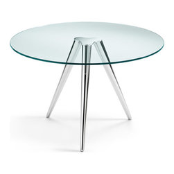 Tonelli Design - UNITY Dining Table - Designed by Karim Rashid in 2010, Unity is a dining table both solid and elegant at the same time. Available quick ship with chromed base and top in transparent glass.